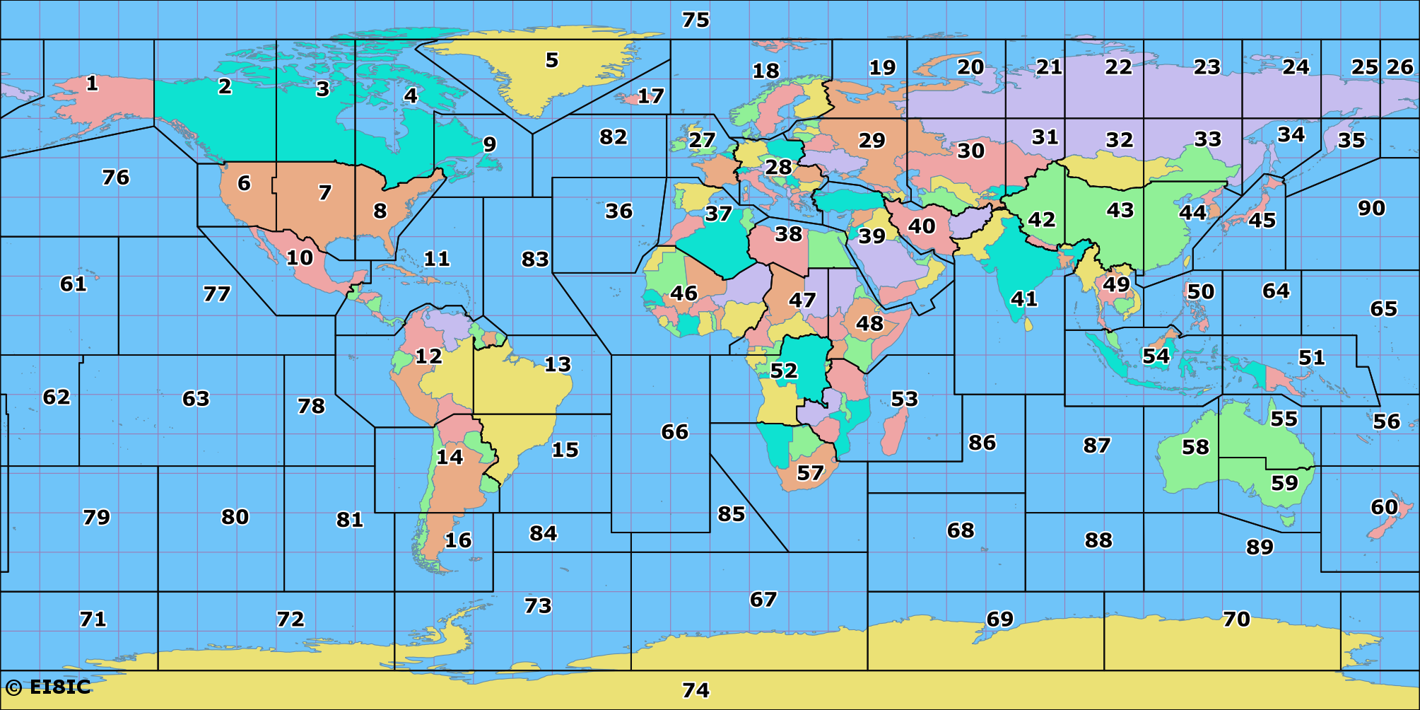 Amateur Radio ITU Zones of the World Map