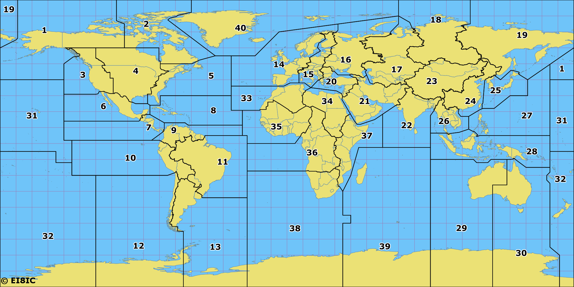 Amateur Radio CQ Zones of the World Map